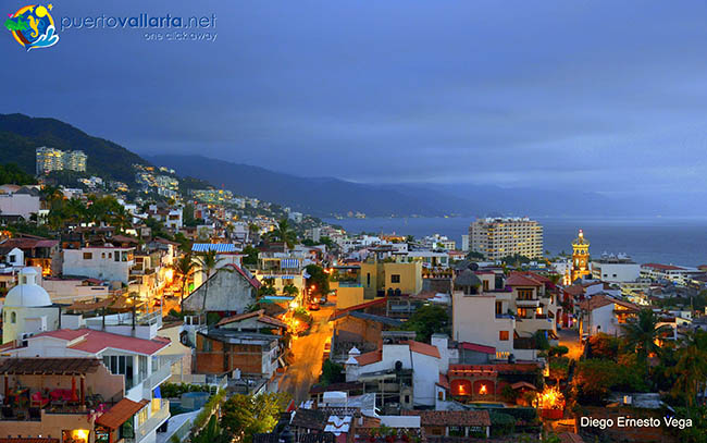 Downtown Puerto Vallarta at night