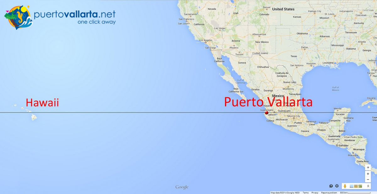 Puerto Vallarta & Hawaii on a map