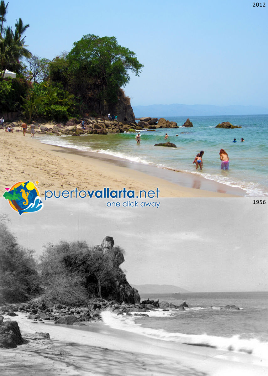 El Pulpito seen from the north (Los Muertos Beach) 1956 vs 2012