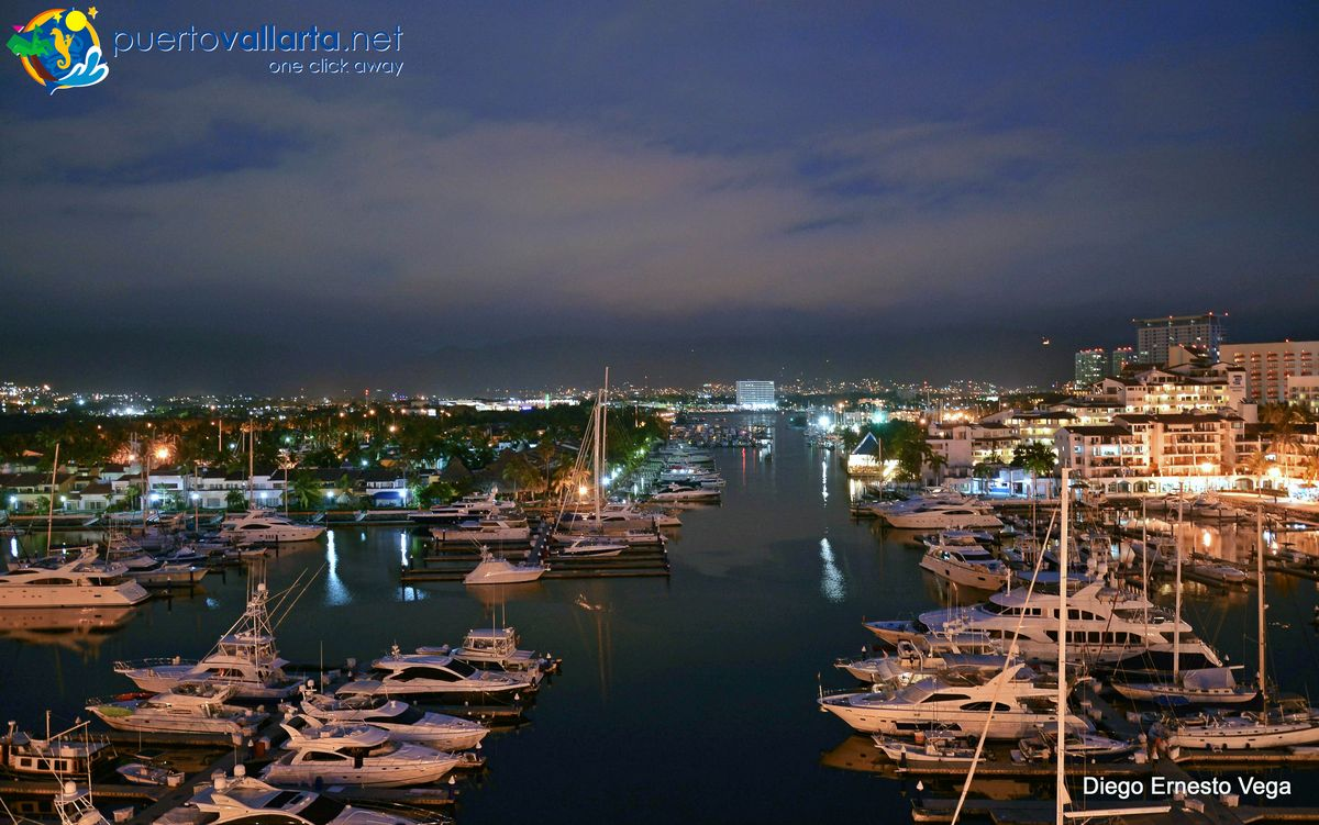 Marina Vallarta at night