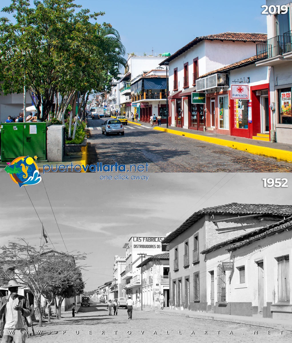 Juarez Avenue by the main square, 1952 vs 2012