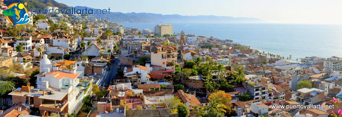 Panorama downtown Puerto Vallarta from the roof of El Panorama Restaurant