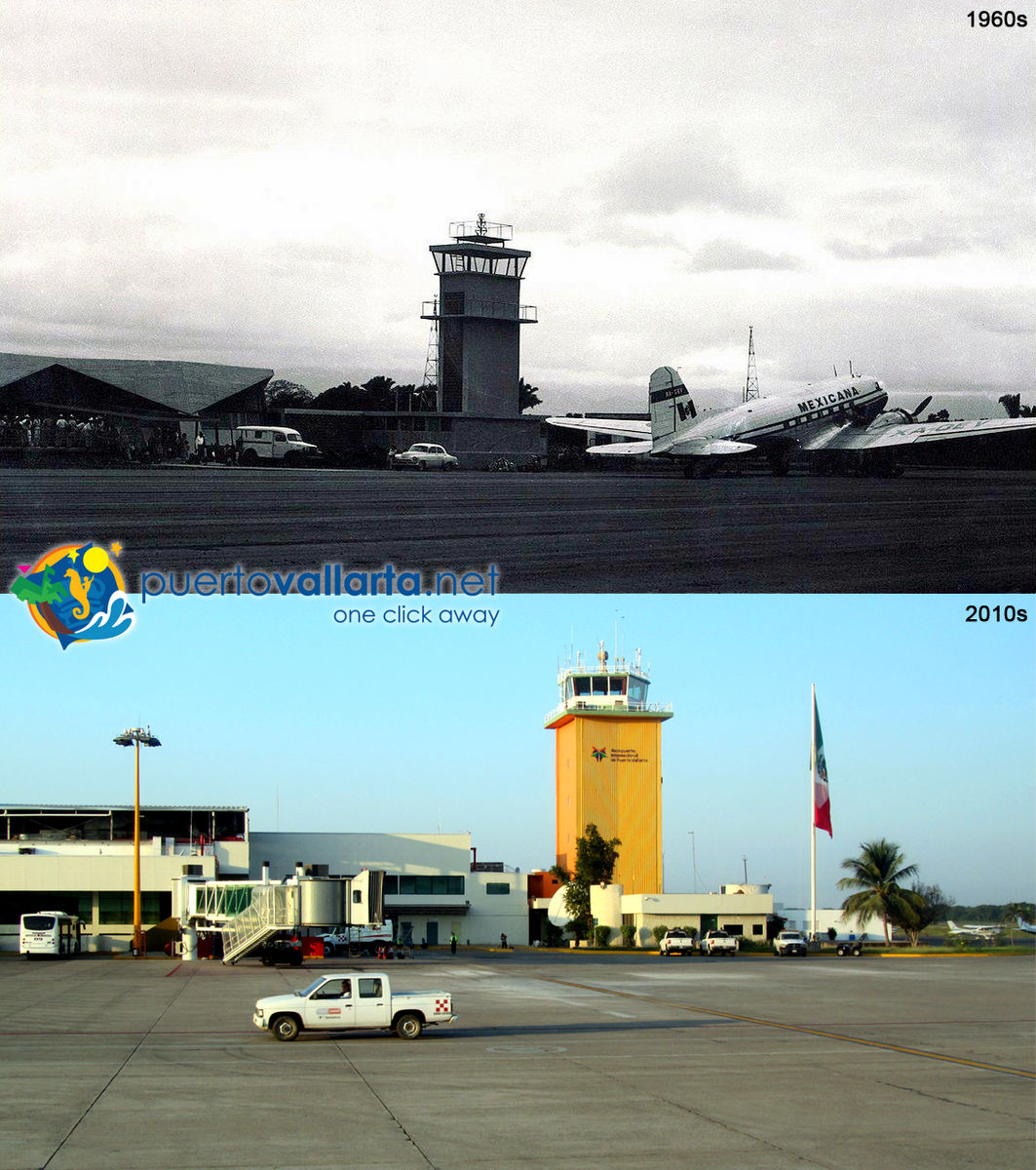 Puerto Vallarta Airport 1960s vs 2010