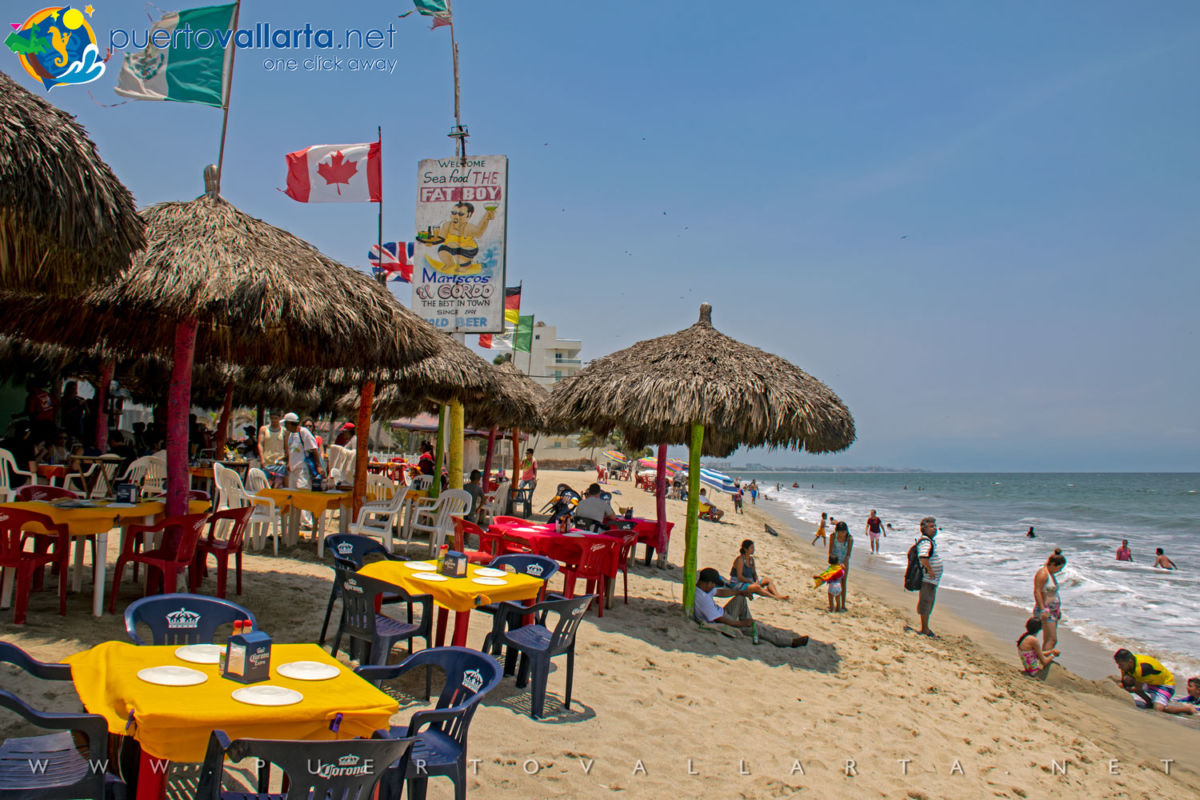 Restaurants the water's edge in Bucerias, Nayarit, Mexico