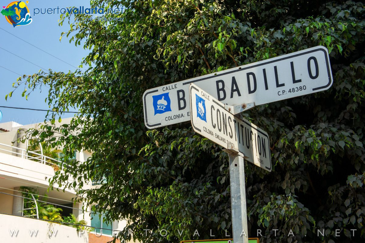 Corner of Basilio Badillo Street & Constitución Street in Old Vallarta (Romantic Zone)