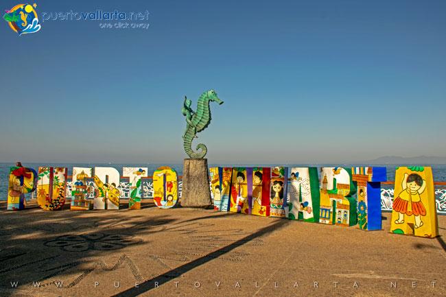 Puerto Vallarta Sign with Manuel Lepe designs