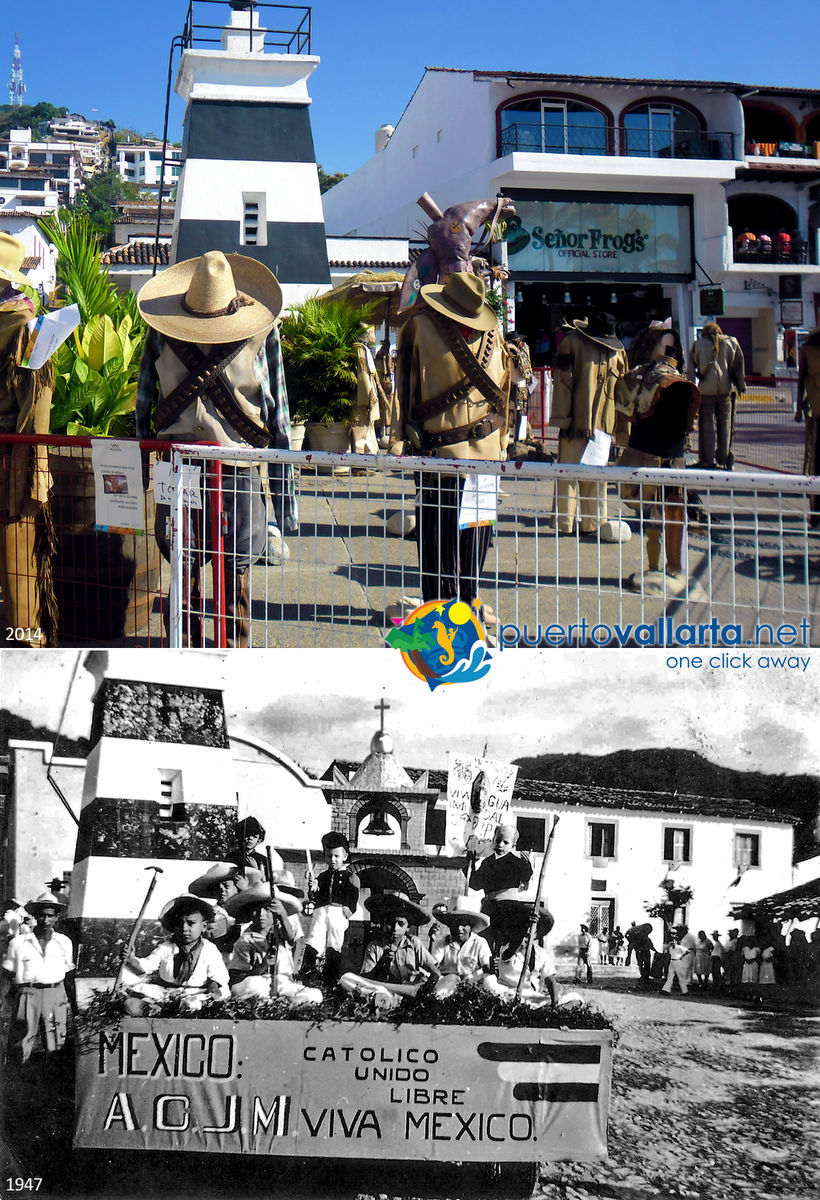Patriotic floats Puerto Vallarta Malecon 1947 vs 2014