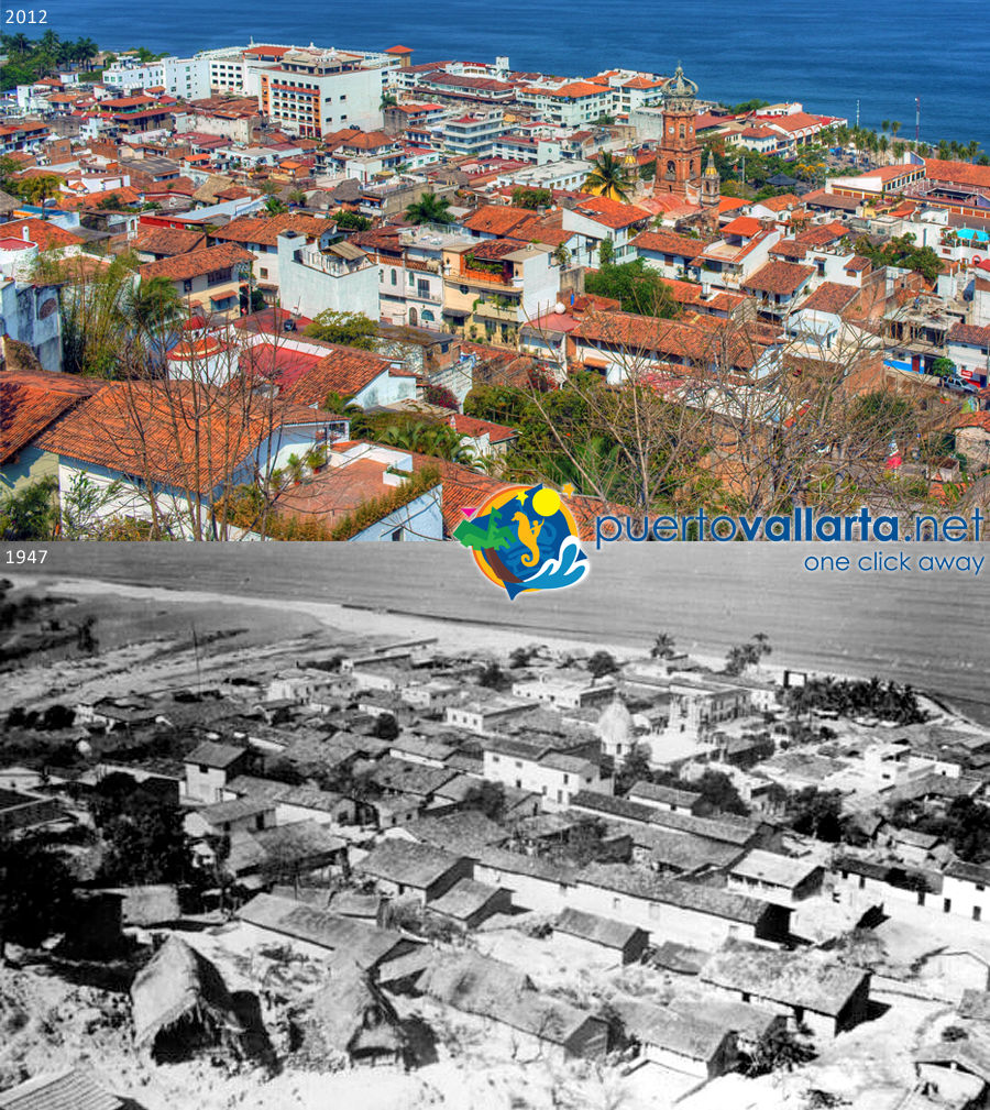 Downtown Puerto Vallarta 1947 vs 2012 from the hill