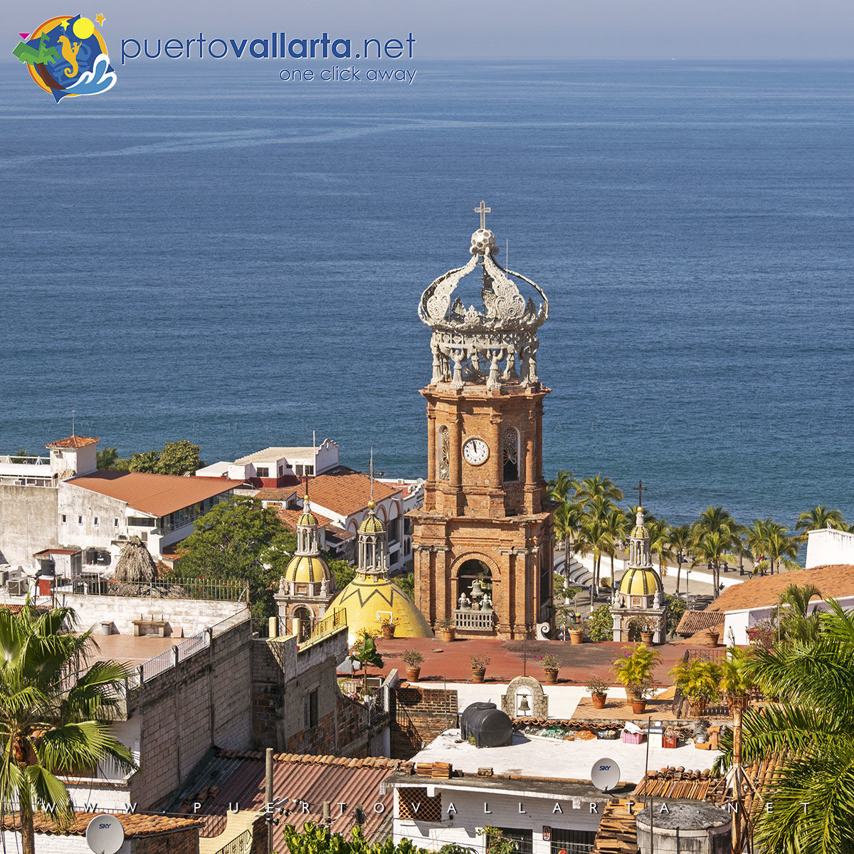 Parish of Our Lady of Guadalupe from Luna Liquida Hotel, Downtown Puerto Vallarta