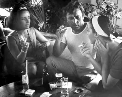 Elizabeth Taylor, Richard Burton and Ava Gardner