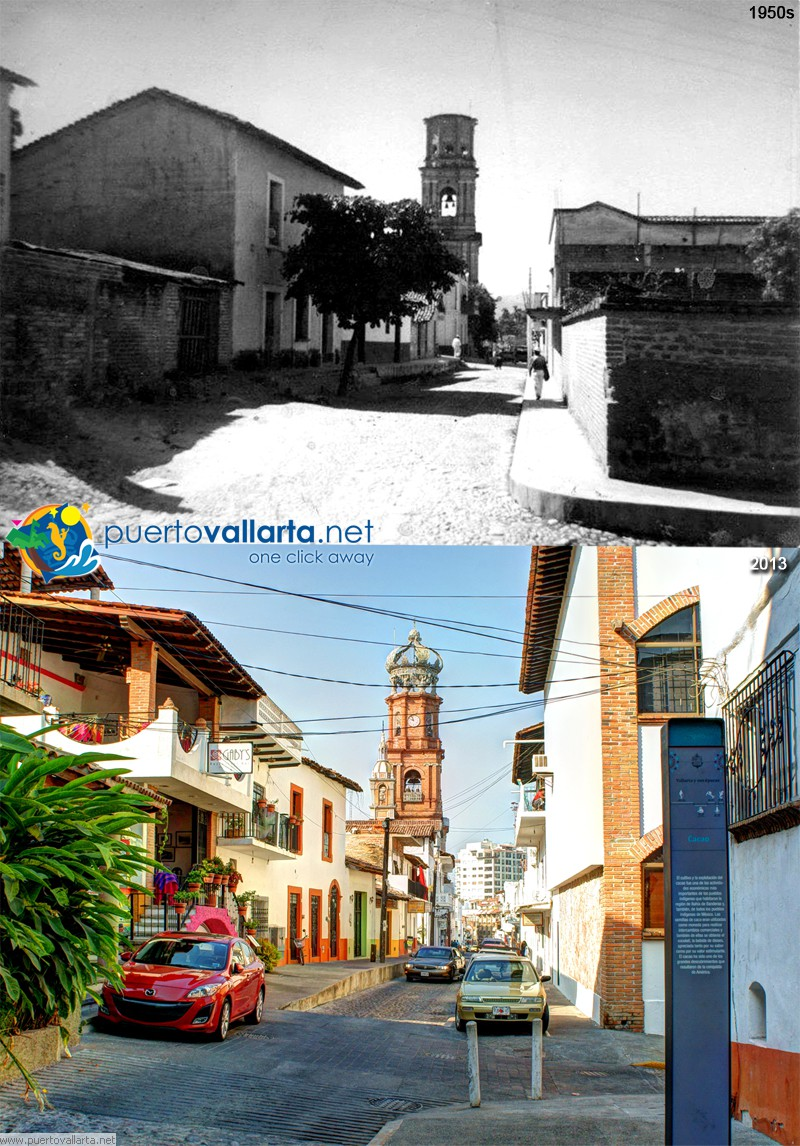 Hidalgo with Mina Street downtown Puerto Vallarta 1950s vs 2013