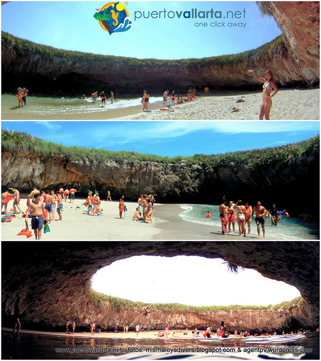 Three views from the Hidden Beach, The Marieta Islands