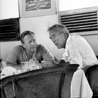 Ray Stark and John Huston during The Iguana