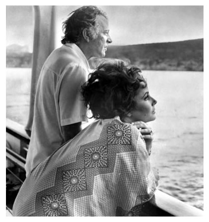 Burton and Taylor on their ship the Kalizma