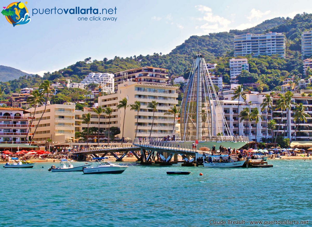 Los Muertos Beach Pier, located in Puerto Vallarta's Romantic Zone (Old Vallarta)