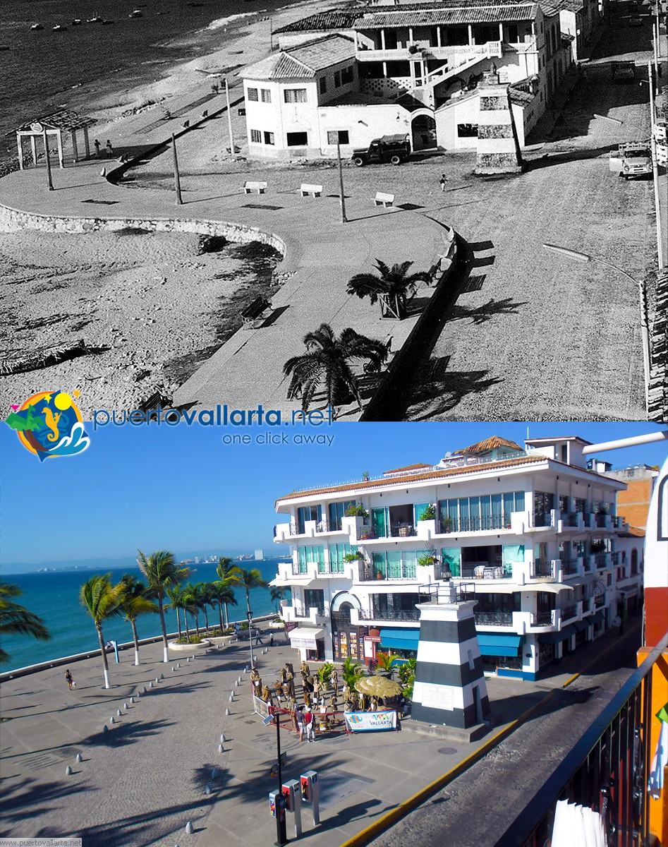 Malecon de Puerto Vallarta 1958 vs 2014