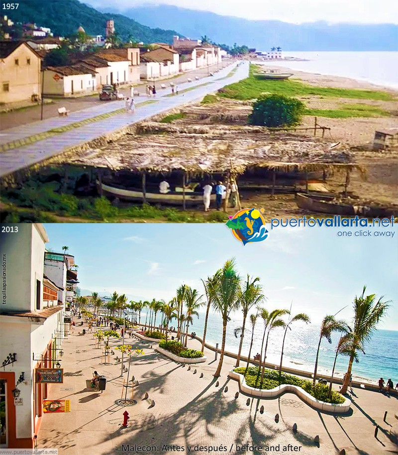 Malecon Puerto Vallarta 1957 vs 2013