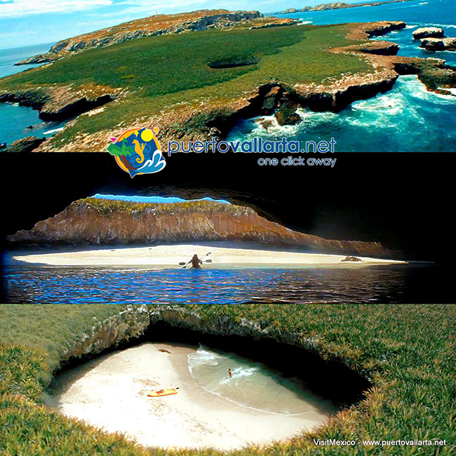 The Marieta Islands, the hidden beach, aerial views