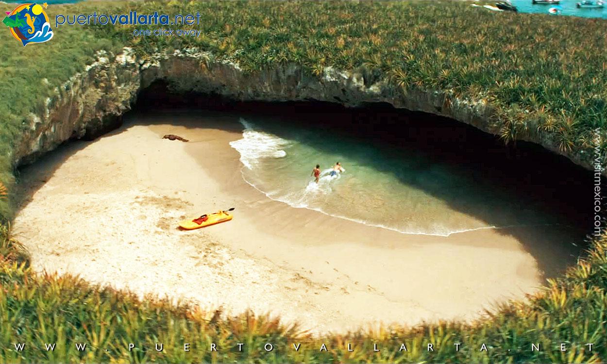 Marietas Islands hidden beach seen through the crater