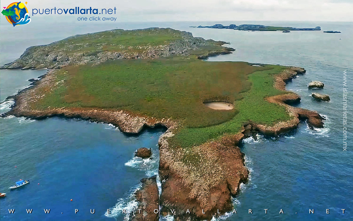 Aerial view of the Marietas Islands and the Hidden Beach crater