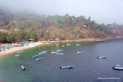 Mismaloya today, arches of the set can be seen on the hill