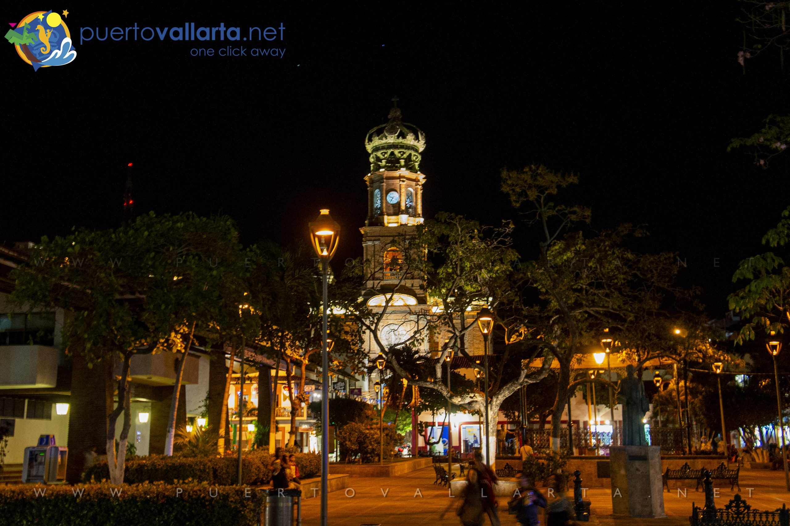 Our Lady of Guadalupe Cathedral and the Main Square in downtown Puerto Vallarta