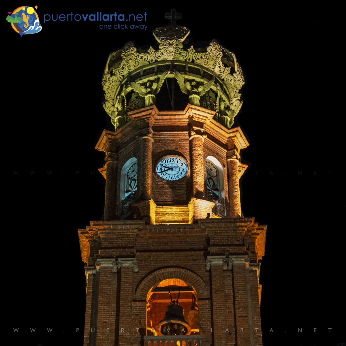 The crown on the Guadalupe Church Tower in downtown Puerto Vallarta