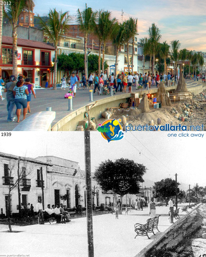Puerto Vallarta Malecon 1940s vs 2012