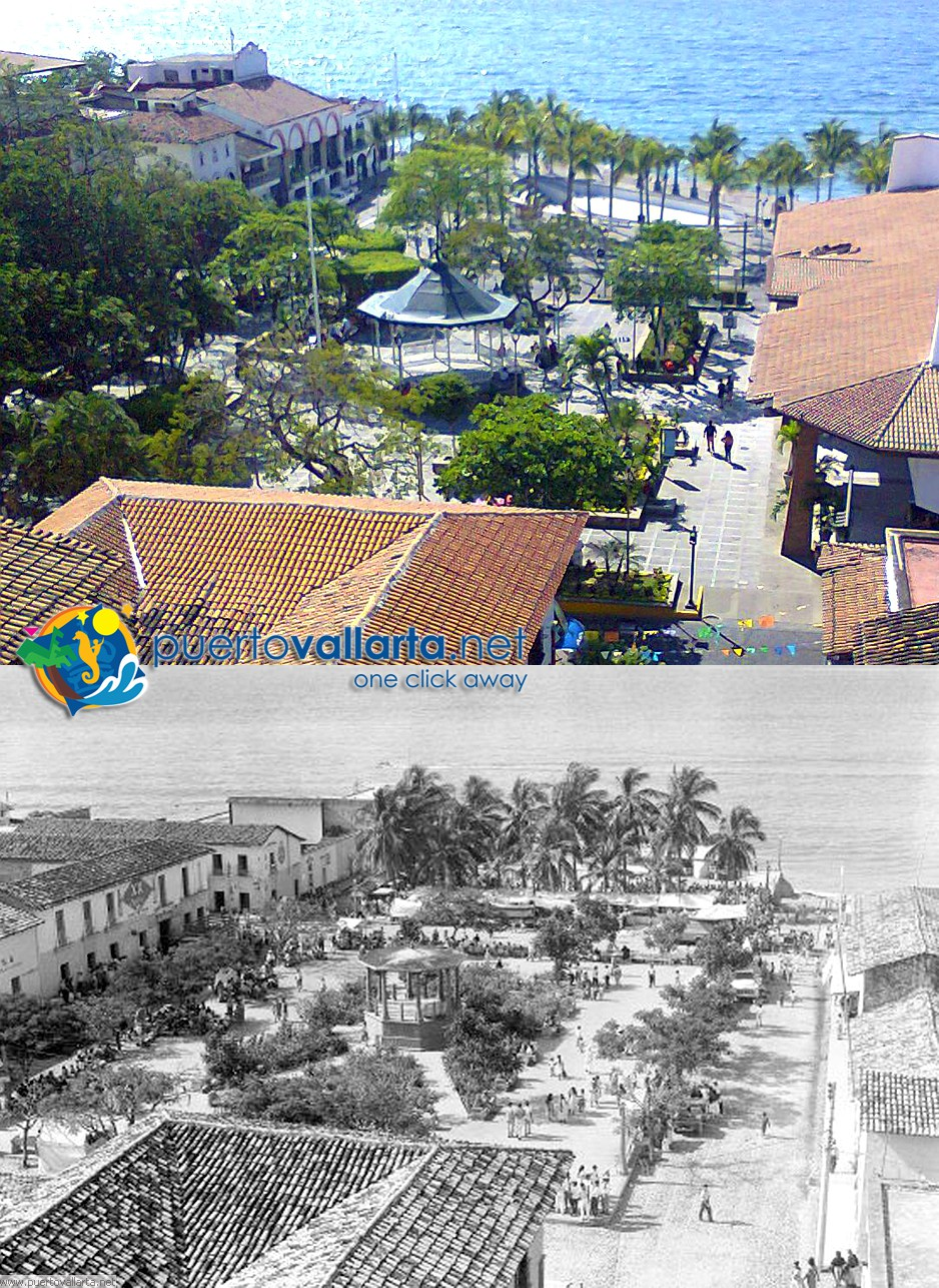 Puerto Vallarta main square from the parish 1956 vs 2014