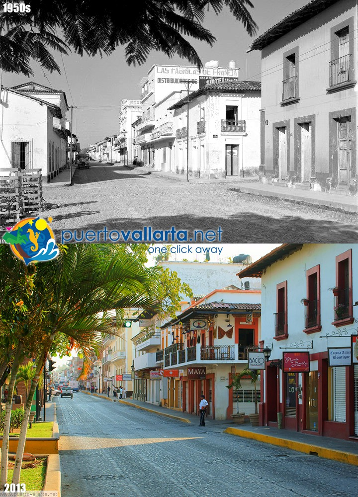 Av Juárez, downtown Puerto Vallarta 1950s vs 2012