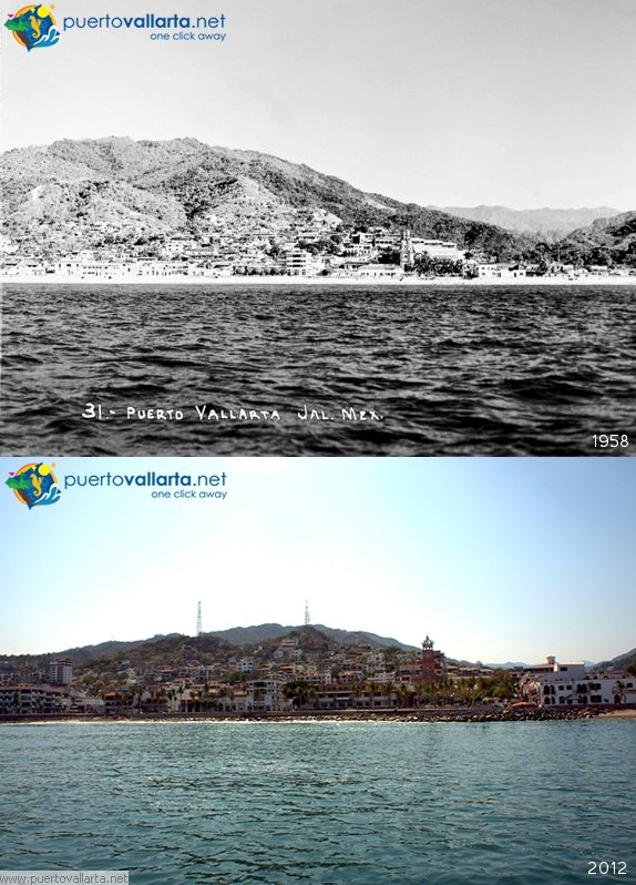 Puerto Vallarta from the sea 1958 vs 2012