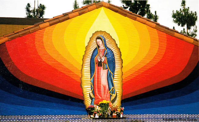 La Guadalupana on a Chicano mural in East L.A.