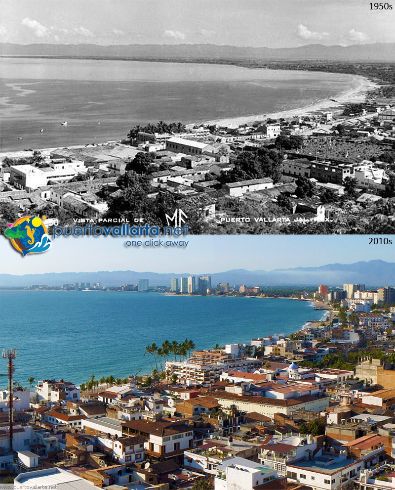 Downtown Puerto Vallarta 1957 vs 2013
