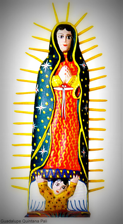 Virgin of Guadalupe in wood