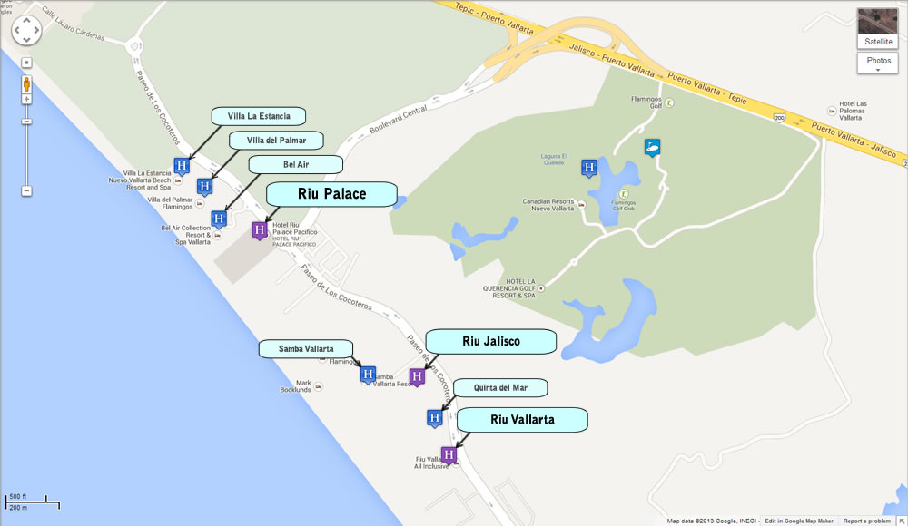 Map of Riu Hotels Puerto Vallarta