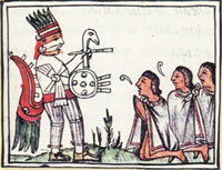 Sun God Huitzilopochtli adoration