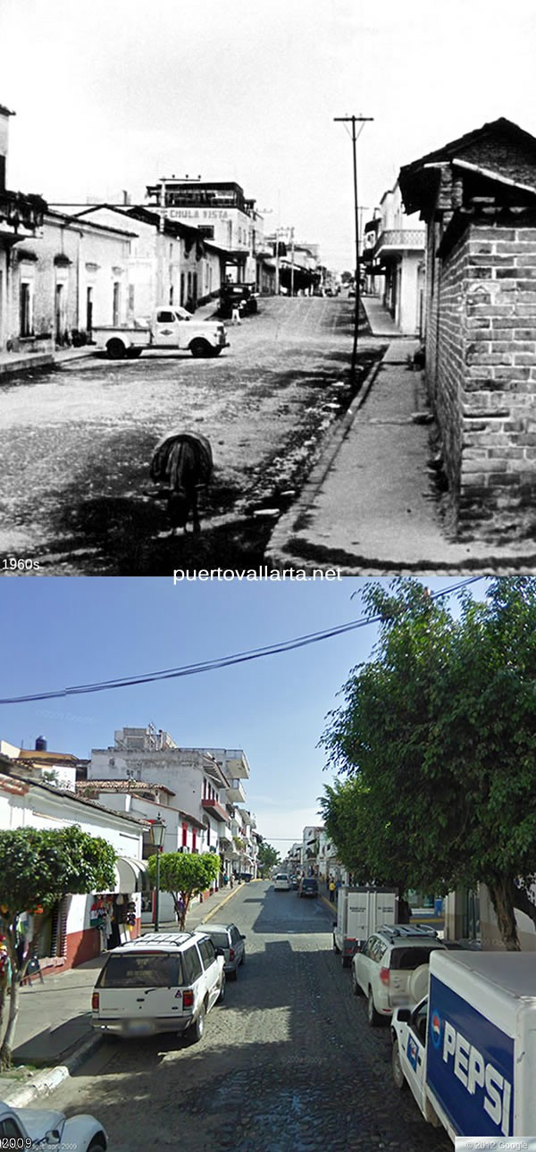 Juarez Street looking toward the plaza 1960s vs 2009