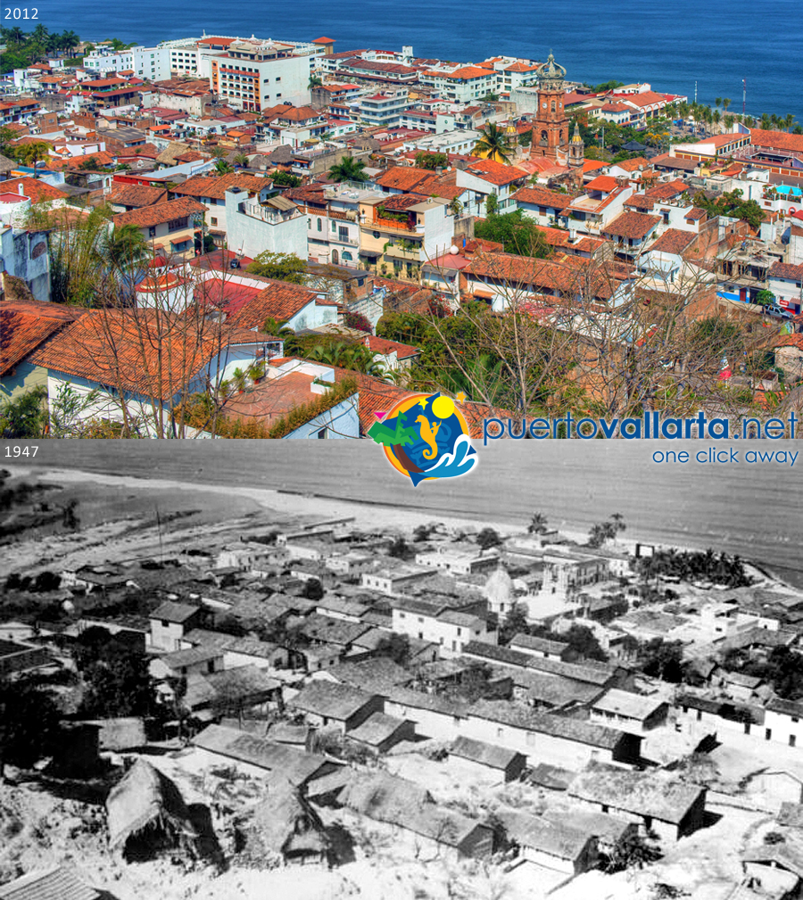 Downtown Puerto Vallarta seen from the hill 1947 vs 2012