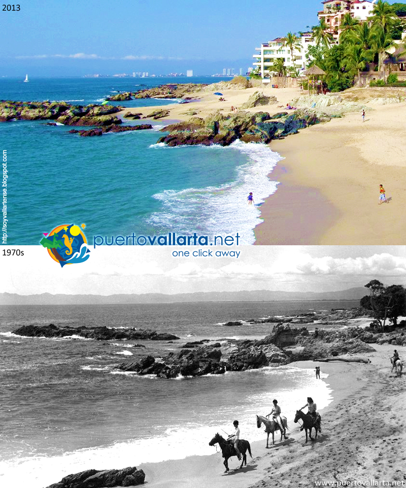 Playa Conchas Chinas mirando al norte 1970s vs 2013