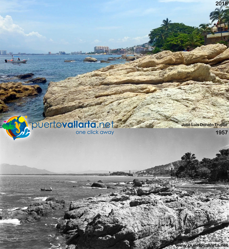 Playa Conchas Chinas mirando al norte 1957 vs 2015