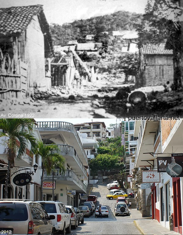 Corona Street, downtown Puerto Vallarta, 1922 vs 2012