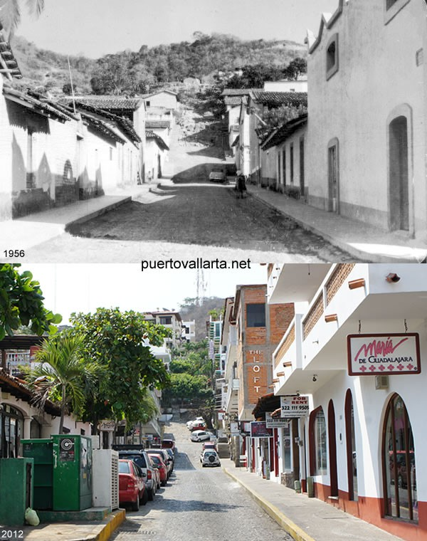 Corona Street, downtown Puerto Vallarta, 1956 vs 2012
