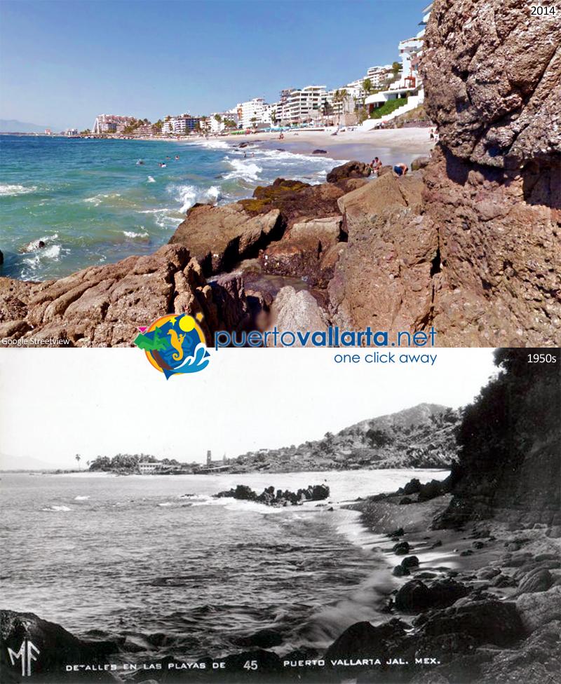 El Púlpito and Los Muertos Beach 1950s vs 2014