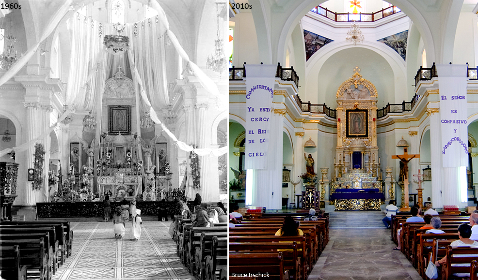 Parish of Our Lady of Guadalupe Puerto Vallarta, inside 1960s vs 2010