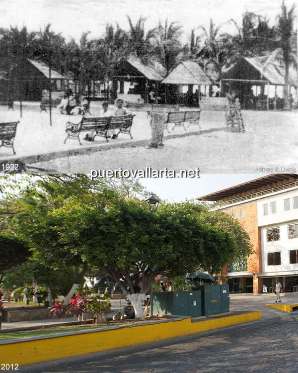 Puerto Vallarta main square 1922 vs 2012