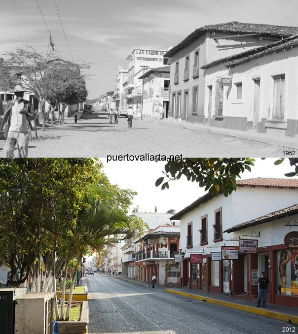 Juarez street by the main square 1952 vs 2012
