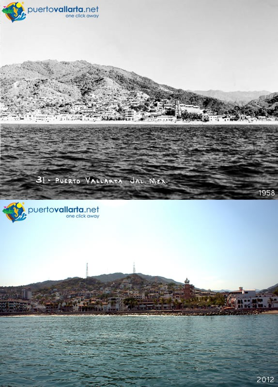 Puerto Vallarta seen from the sea 1958 vs 2012