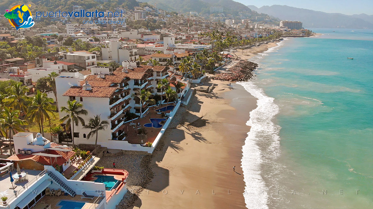 Camarones Beach, drone view looking south, downtown Puerto Vallarta