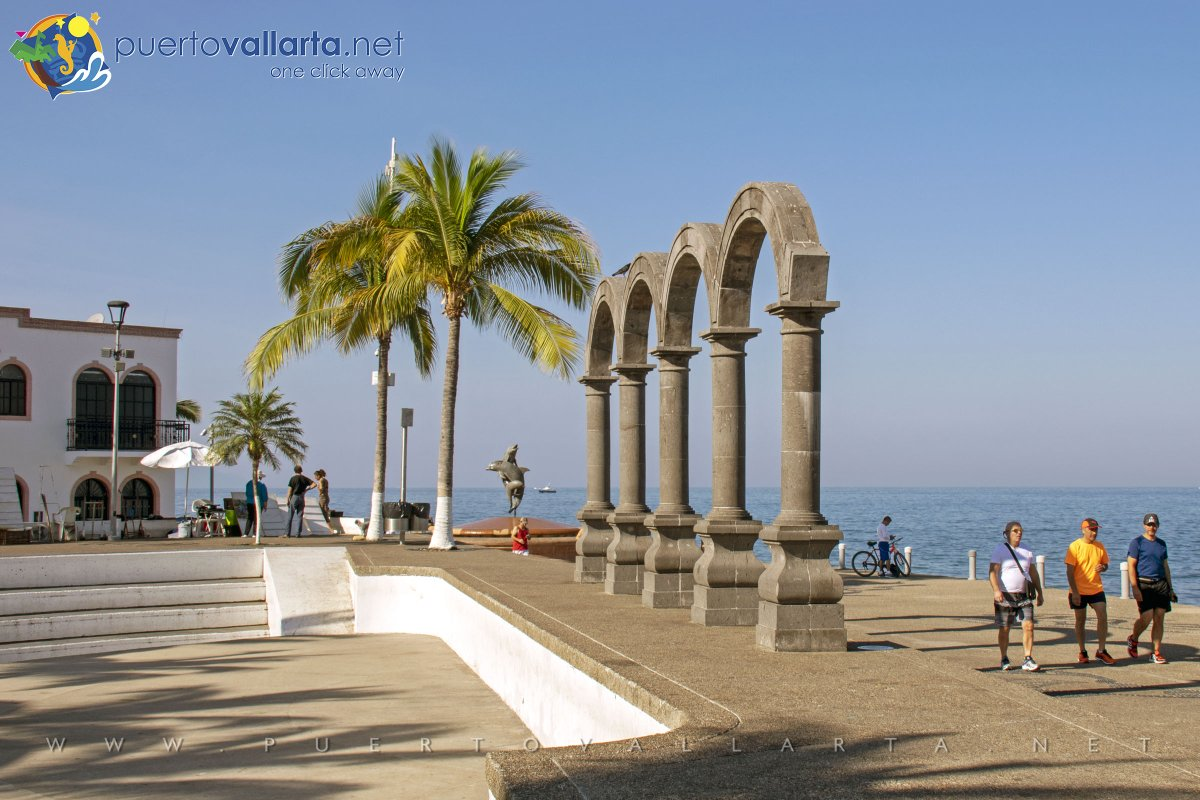 Los Arcos, The Arches on the Malecon in downtown Puerto Vallarta, looking south