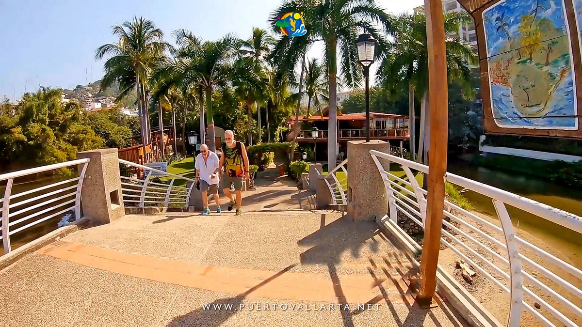 Stairs down from the Cuale River Island Pedestrian Bridge to the island, downtown Puerto Vallarta